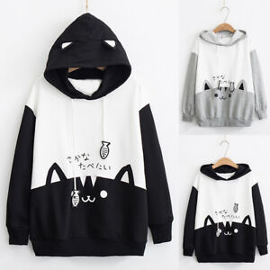 Women-Casual-Long-Sleeve-Cat-Print-Pocket-Hoodie-Sweatshirt-Blouse-Tops-Shirts