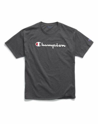 T-Shirt Mens Champion Jersey Tee Classic Script Logo Athletic Fit 100/% Cotton