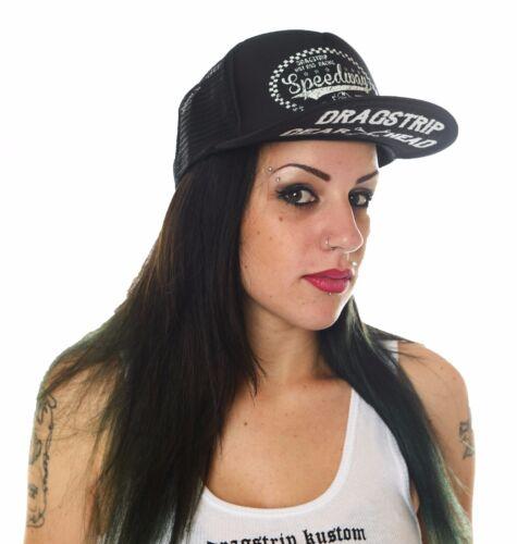 Dragstrip Kustom Black Speedway Cafe Racer Trucker Cap Lucky 13 Cap Hot Rod  Cap