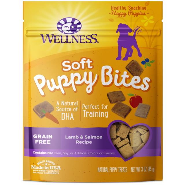 Wellness Soft Puppy Bites Natural Grain Free Puppy Training Treats, Lamb & Bag