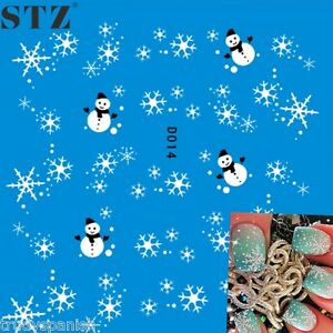 Christmas-Nail-Art-Water-Decals-Transfers-Snowflakes-Snowman-Trees-Gel-Polish