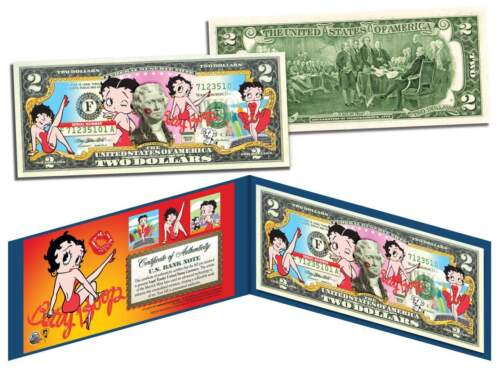 $2 Bill *OFFICIALLY LICENSED* with Holder BETTY BOOP Genuine Legal Tender U.S