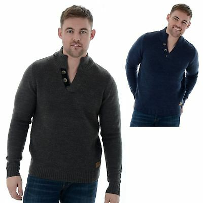 Mens Threadbare Textured Knit 3 Button Funnel Neck Sweater Jumper Coningsby