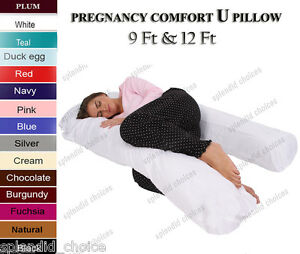9Ft U Body//Bolster Support Maternity Pregnancy Support Pillow with white case