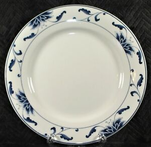 Cameo-Durable-9-25-034-White-Luncheon-Dinner-Plate-Blue-Floral-Rim
