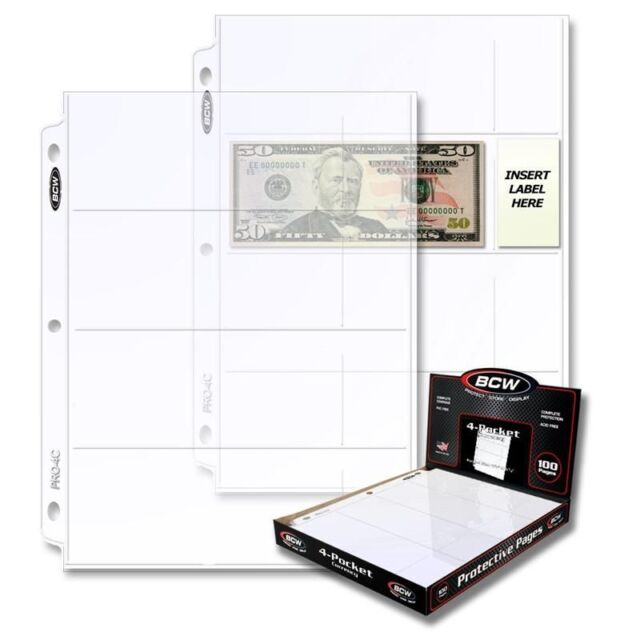 50 BCW pages to display Currency with 4 Pockets to fit Binder Albums