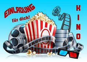 Das Bild Wird Geladen 8 Einladungskarten Kino Film Geburtstag Kinder  Kindergeburtstag Einladungen