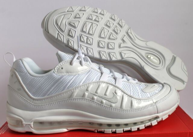 0bae18f85b3 Nike Air Max 98 Triple White White Pure Platinum-Black Mens Sz 13  640744