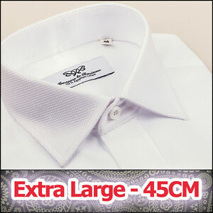 Mens-White-Marcella-Formal-Business-Dress-Shirt-Size-45-Extra-Large-Luxury-Style