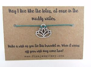 Details About Yoga Live Like A Lotus Flower Silver Tie On Message Card Wish Bracelet Yogi Gift