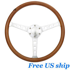 15 Classic Wood Grain Silver Round Hole Brushed Spoke Steering Wheel Horn Kit