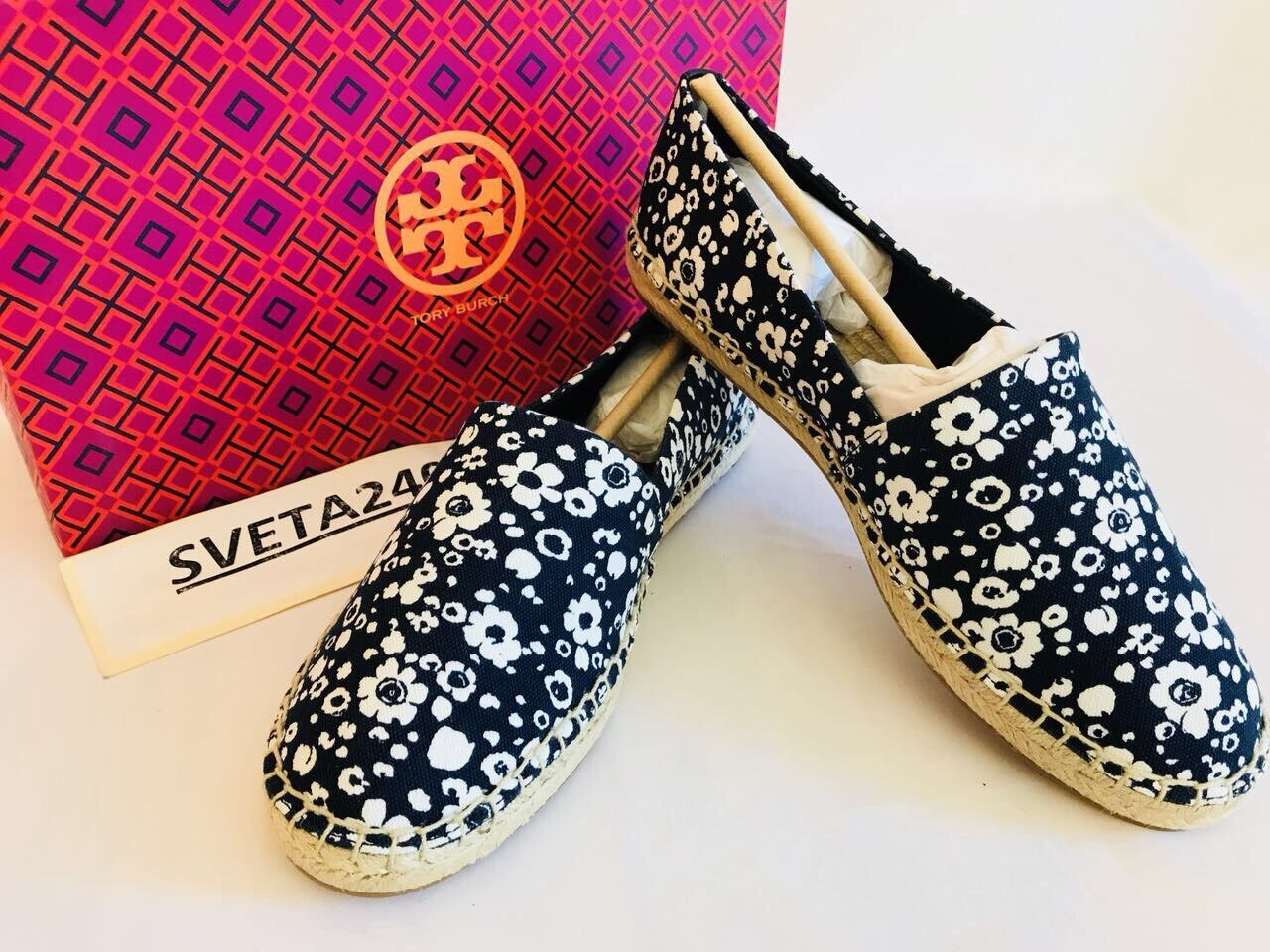 Tory Burch Lovers NIB Risa Navy Ivory Lovers Burch Floral Canvas  Espadrille Flat Shoes Sz 8 6bb50e