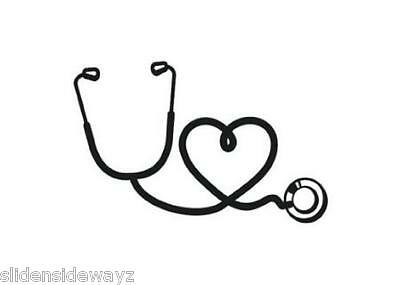 """Doctor MADE IN THE USA Nurse 6/"""" White Vinyl /""""Stethoscope Heart/"""" Decal RN"""