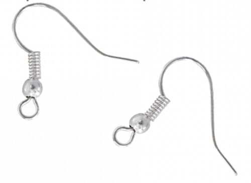 LOT 20 CROCHETS BOUCLES D'OREILLES argenté SANS NICKEL perles création bijoux