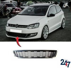 new vw polo 6r 2009 2014 front bumper lower center grille with chrome trim ebay. Black Bedroom Furniture Sets. Home Design Ideas