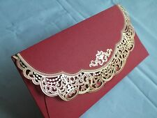 1pc Wedding Invitation Envelope Die Cut Hollow Lace Metallic Printed - Red