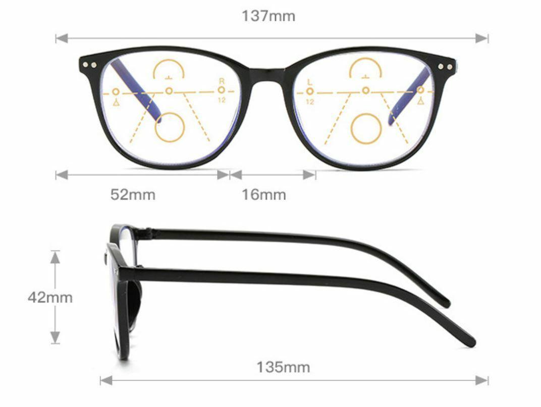Gleitsichtbrille Lesebrille schwarz 1.0 1.5 2.0 2.5 Dioptrien Anti-Blaulicht