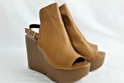 us 8.5 Provided Ethem Women's Brown Single Strap Heels Shoes Size 39 E902 Leather New