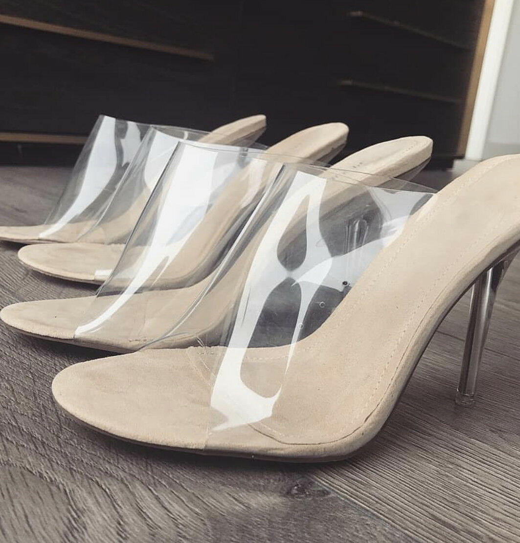 Yeezy inspired clear pvc mules