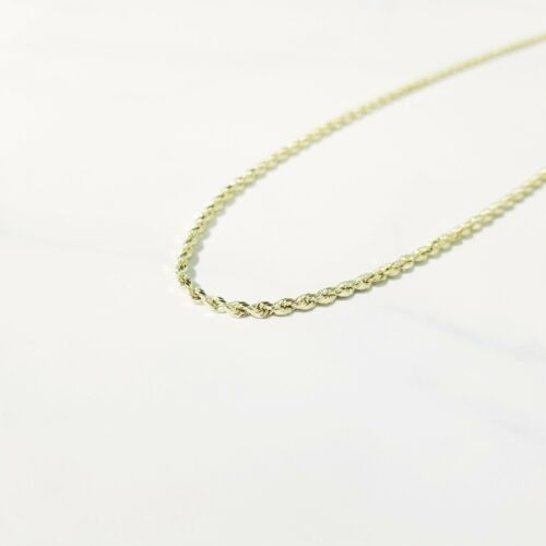 """Link 10K Yellow Gold Hollow Diamond Cut Rope Necklace Chain 2-7mm 16-32/"""""""