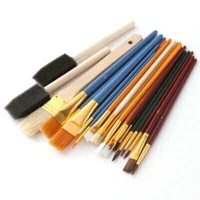 25Pcs Round Flat Tip Art Painting Brushes Set for Acrylic Oil Watercolour Craft