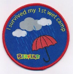 Beaver-Scout-I-Survived-My-1st-Wet-Camp-Fun-Badge-NEW-Official