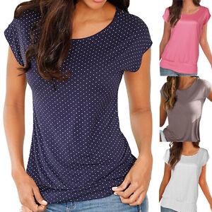 Womens-Office-Ladies-Short-Sleeve-Loose-Blouse-Tops-Summer-Casual-Slim-T-Shirt