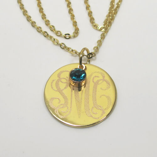 Monogram  Personalized Circle Necklace Gold Plated  Sterling Silver