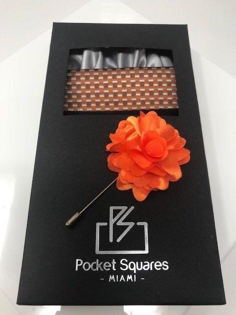 e69e80ae9abd1 Men Pocket Square Pre Folded Pocket Squares Matching Lapel Flower ...