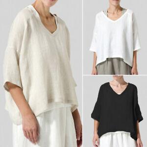ZANZEA-Women-Cotton-Plain-Shirt-Tops-Loose-Round-Neck-Oversize-Jumper-Blouse