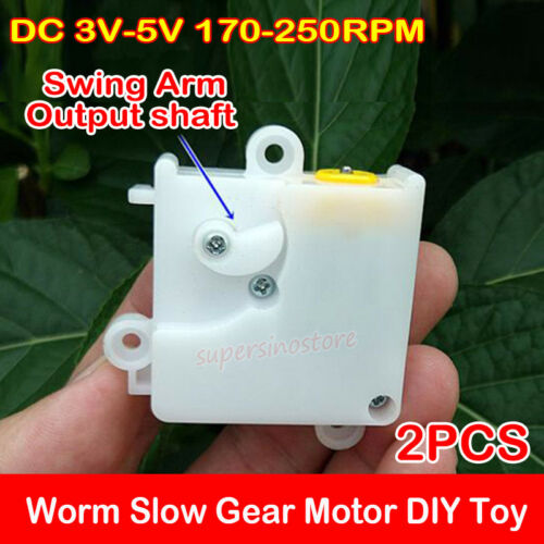 2PCS DC 3V-5V 170-250RPM Plastic Gearbox Worm Slow Micro Gear Motor DIY Toy Core