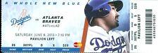 2013 Dodgers vs Braves Ticket: Kris Medlen 6 2/3 scoreless innings & Hit 1st HR