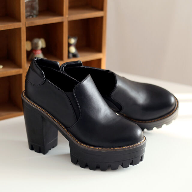 Womens Chelsea High Platform Chunky Block Heel Summer Pumps Ankle Boots Shoes