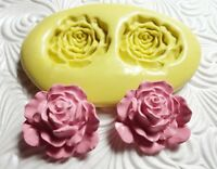 Silicone Resin Polymer Clay Fondant Flexible Push Mold Rose Duo 1301a