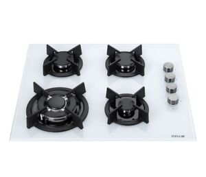 MILLAR GH6041XEW 4 Burner Built-in 60cm White Gas on Glass Hob with ... 01f8df89e9d9