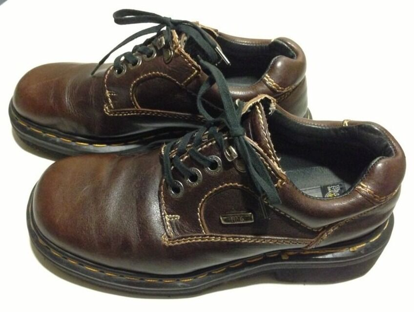 Women's DR DOC MARTENS Brown Leather Work Ankle Boots 8 Eyelets Size US 7