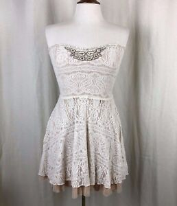 Free-People-Ivory-Lace-Beaded-Strapless-Mini-Dress-Small
