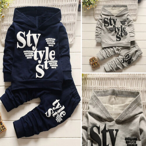2PCS Toddler Kids Baby Boy Long Sleeve Letter Hooded Top Pants Casual Outfit Set