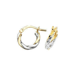 Image Is Loading 9ct Yellow Amp White Gold Hoop Earrings
