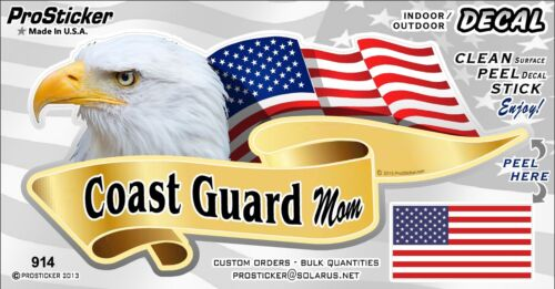 One ProSticker 914V American Flag Coast Guard Mom Eagle Decal Sticker