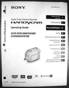 sony dcr dvd108 dcr dvd308 dcr dvd608 dcr dvd708 operation guide rh ebay com sony handycam dvd108 manual sony dcr-dvd108 specs