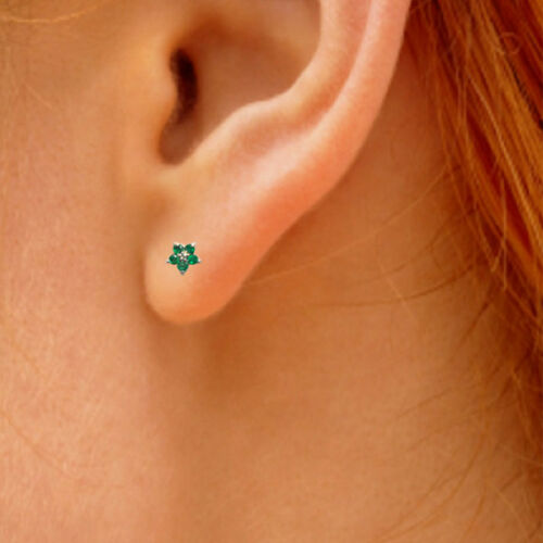 Stud Earrings Emerald and Diamond Cluster Yellow White Rose 9ct Gold  ER448E