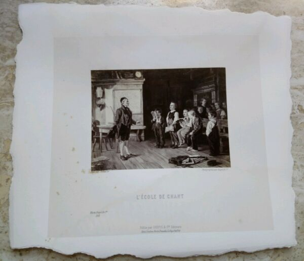 $ 800 Foto Litografia Stampa Goupil L'ecole De Chant Scuola Di Canto Musique