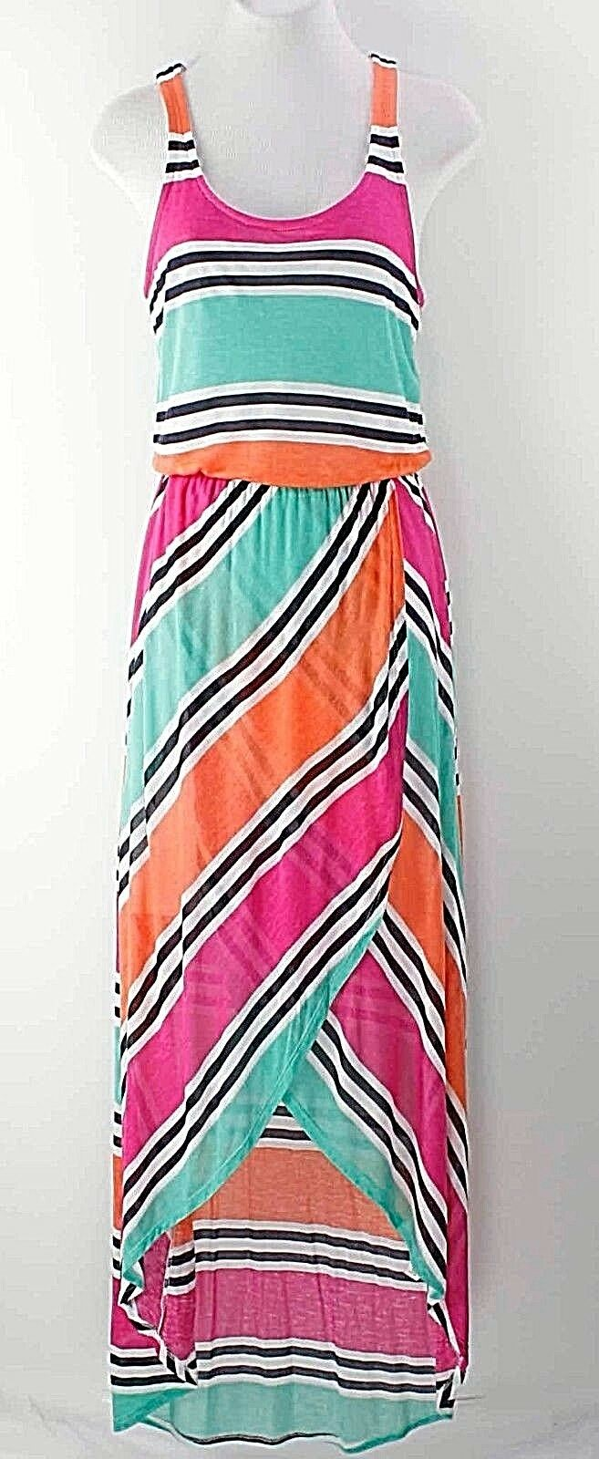 Splendid NEW  Sz S Rosa Orange Mint Multi Racerback Maxi Hi Lo Dress E324