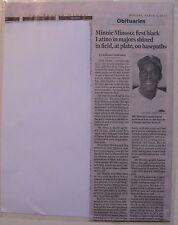 Obituary: Boston Globe 3/2/15 Minnie Minoso, 83, Chicago White Sox Superstar