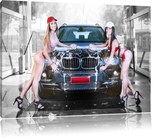 BMW X5 mit Girls Leinwandbild Wanddeko Kunstdruck
