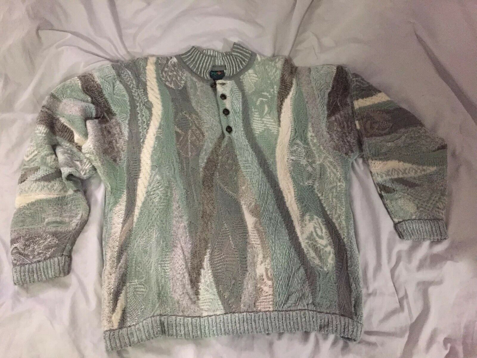 Coogi Sweater - XL - Made In Australia - Wool Mohair - Soft Grün/Cream/Grau