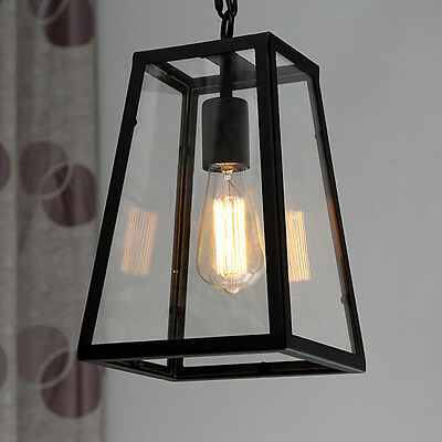 Chandelier Vintage Luminaire Hanging Glass Box Ceiling Lamp Shade Pendant Light