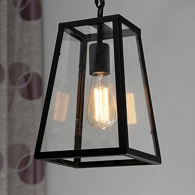 Chandelier Vintage Luminaire Hanging Glass Box Ceiling Lamp Shade Pendant Light