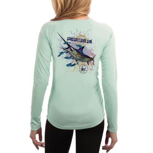 UV//Sun Protection Long Sleeve T-Shirt Blue Marlin Women/'s UPF 50